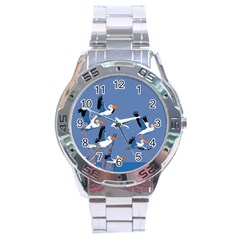 Abstract Pelicans Seascape Tropical Pop Art Stainless Steel Analogue Watch