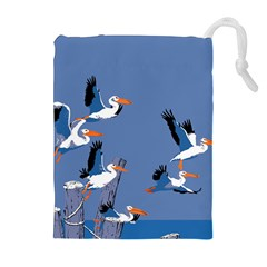 abstract Pelicans seascape tropical pop art Drawstring Pouches (Extra Large)