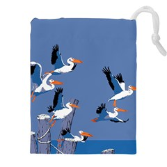 Abstract Pelicans Seascape Tropical Pop Art Drawstring Pouches (xxl)