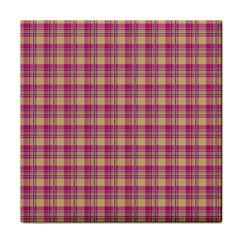 Pink Plaid Pattern Tile Coasters