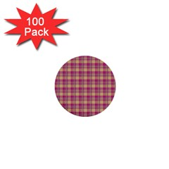 Pink Plaid Pattern 1  Mini Buttons (100 Pack)