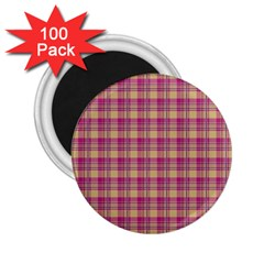 Pink Plaid Pattern 2.25  Magnets (100 pack)