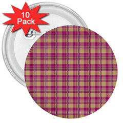 Pink Plaid Pattern 3  Buttons (10 pack)