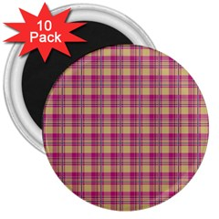 Pink Plaid Pattern 3  Magnets (10 pack)