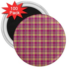 Pink Plaid Pattern 3  Magnets (100 Pack)