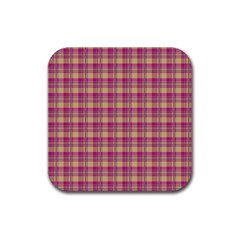 Pink Plaid Pattern Rubber Coaster (square)