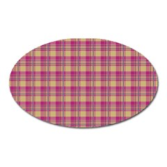 Pink Plaid Pattern Oval Magnet