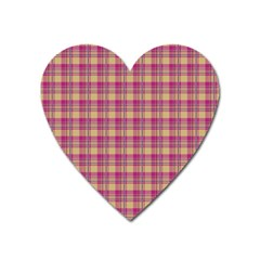 Pink Plaid Pattern Heart Magnet