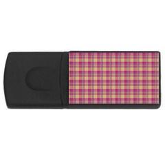 Pink Plaid Pattern USB Flash Drive Rectangular (2 GB)