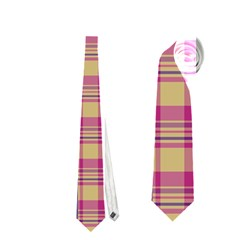 Pink Plaid Pattern Neckties (two Side)