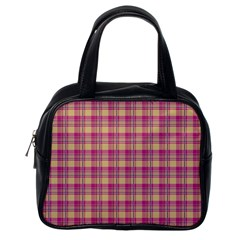 Pink Plaid Pattern Classic Handbags (one Side)