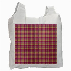 Pink Plaid Pattern Recycle Bag (one Side)