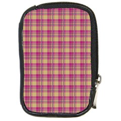 Pink Plaid Pattern Compact Camera Cases