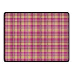 Pink Plaid Pattern Double Sided Fleece Blanket (small)