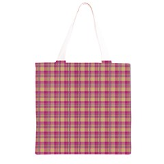 Pink Plaid Pattern Grocery Light Tote Bag