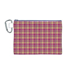 Pink Plaid Pattern Canvas Cosmetic Bag (M)