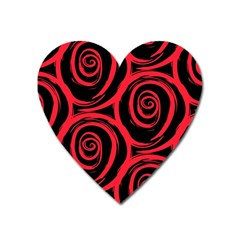 Abtract  Red Roses Pattern Heart Magnet