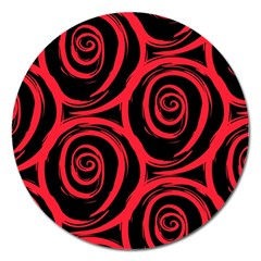Abtract  Red Roses Pattern Magnet 5  (round)