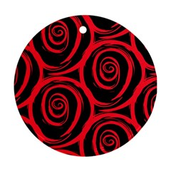 Abtract  Red Roses Pattern Round Ornament (two Sides)