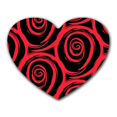 Abtract  Red Roses Pattern Heart Mousepads