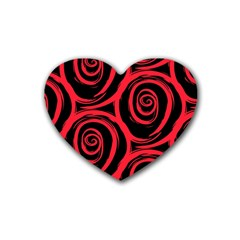 Abtract  Red Roses Pattern Rubber Coaster (Heart)