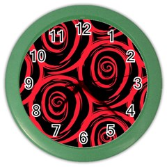 Abtract  Red Roses Pattern Color Wall Clocks