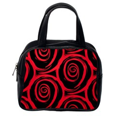 Abtract  Red Roses Pattern Classic Handbags (one Side)