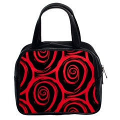 Abtract  Red Roses Pattern Classic Handbags (2 Sides)