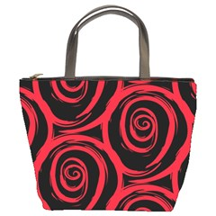 Abtract  Red Roses Pattern Bucket Bags