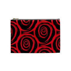 Abtract  Red Roses Pattern Cosmetic Bag (medium)