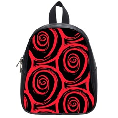 Abtract  Red Roses Pattern School Bags (Small)