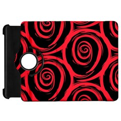 Abtract  Red Roses Pattern Kindle Fire HD Flip 360 Case