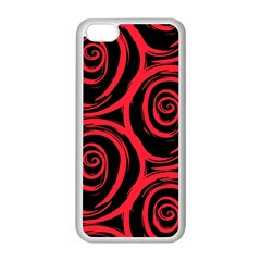 Abtract  Red Roses Pattern Apple iPhone 5C Seamless Case (White)