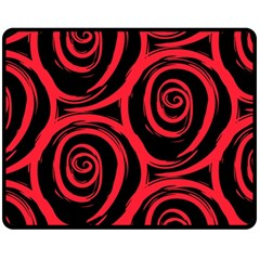 Abtract  Red Roses Pattern Double Sided Fleece Blanket (Medium)