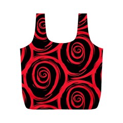 Abtract  Red Roses Pattern Full Print Recycle Bags (m)
