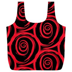 Abtract  Red Roses Pattern Full Print Recycle Bags (l)