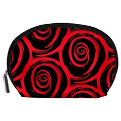 Abtract  Red Roses Pattern Accessory Pouches (Large)