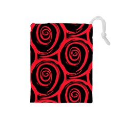 Abtract  Red Roses Pattern Drawstring Pouches (medium)