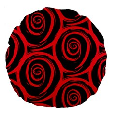 Abtract  Red Roses Pattern Large 18  Premium Flano Round Cushions