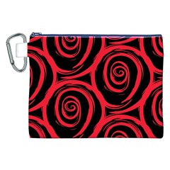 Abtract  Red Roses Pattern Canvas Cosmetic Bag (XXL)