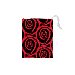 Abtract  Red Roses Pattern Drawstring Pouches (XS)