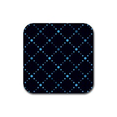 Seamless Geometric Blue Dots Pattern  Rubber Square Coaster (4 Pack)