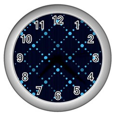 Seamless Geometric Blue Dots Pattern  Wall Clocks (silver)