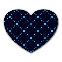 Seamless Geometric Blue Dots Pattern  Heart Mousepads