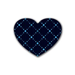 Seamless geometric blue Dots pattern  Rubber Coaster (Heart)