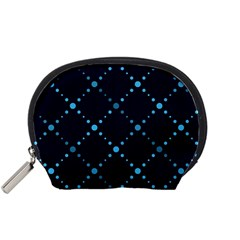 Seamless geometric blue Dots pattern  Accessory Pouches (Small)