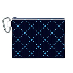 Seamless geometric blue Dots pattern  Canvas Cosmetic Bag (L)