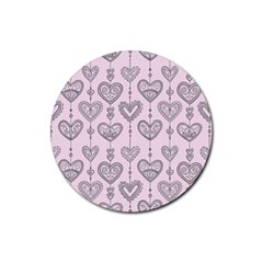 Sketches Ornamental Hearts Pattern Rubber Coaster (round)