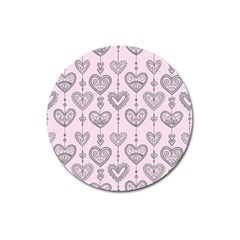 Sketches Ornamental Hearts Pattern Magnet 3  (round)