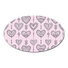 Sketches Ornamental Hearts Pattern Oval Magnet